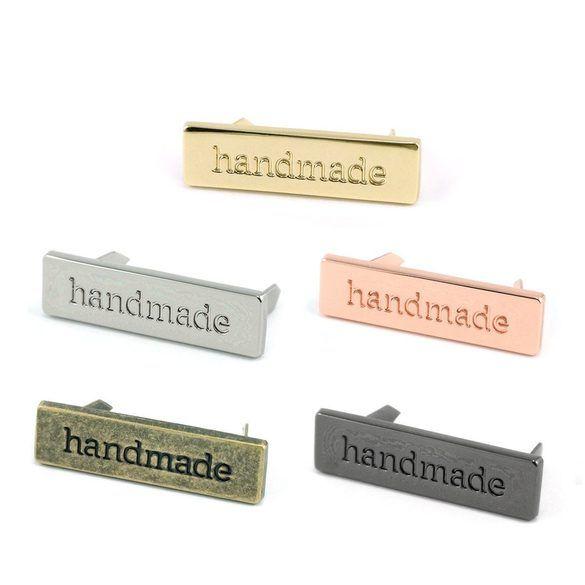 """Metal Bag Label """"Handmade"""""""