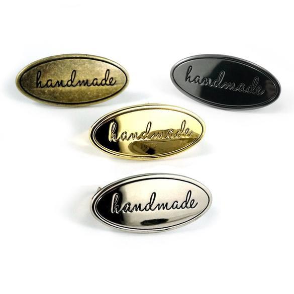 "Metal Oval Bag Label ""Handmade"""