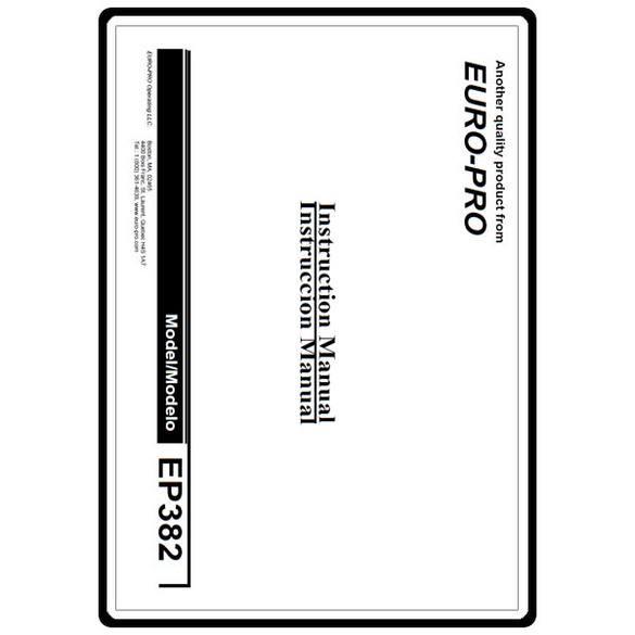 Instruction Manual, Euro Pro EP382