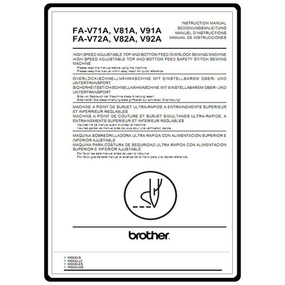 Instruction Manual, Brother FA-V71A
