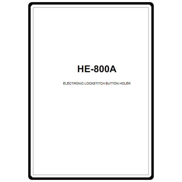 Instruction Manual, Brother HE-800A