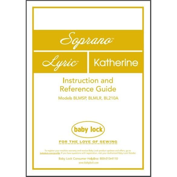 Instruction Manual, Babylock BL210A Katherine