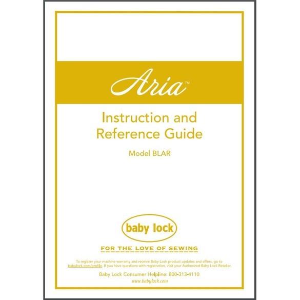 Instruction Manual, Babylock BLAR Aria