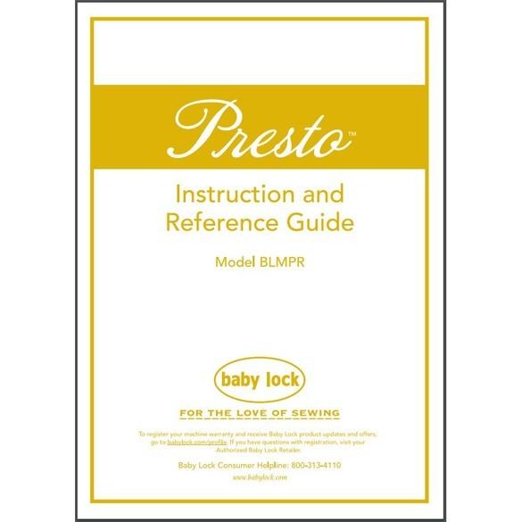 Instruction Manual, Babylock BLMPR Presto