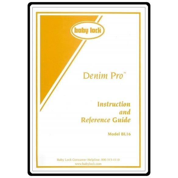 Instruction Manual, Babylock BL16 Denim Pro