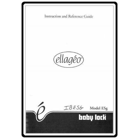 Instruction Manual, Babylock ESG Ellageo