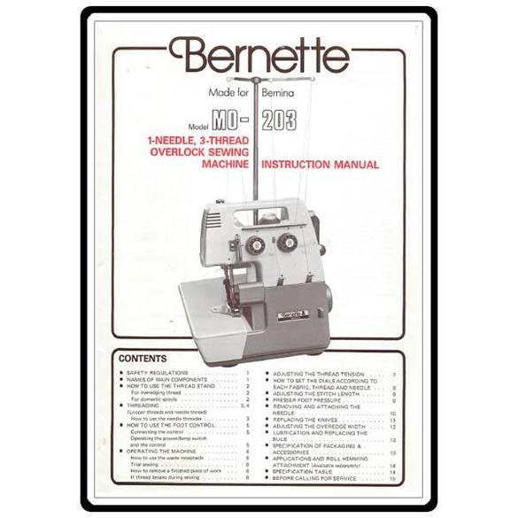 Instruction Manual, Bernette MO-203