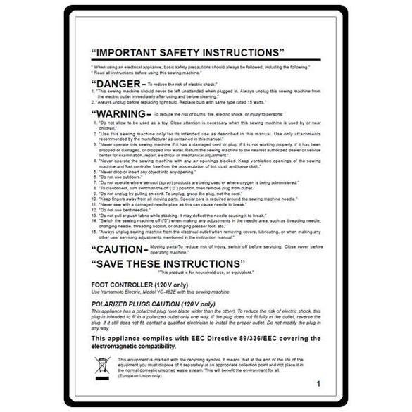 Instruction Manual, Juki HZL-25Z