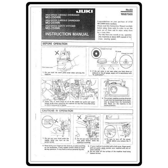 Instruction Manual, Juki MO-2516N