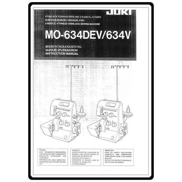 Instruction Manual, Juki MO-634DEV