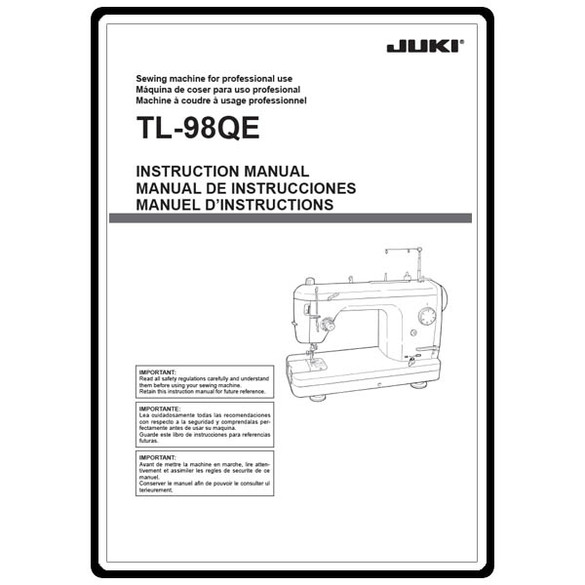 Instruction Manual, Juki TL-98QE