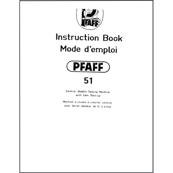 Instruction Manual, Pfaff 51