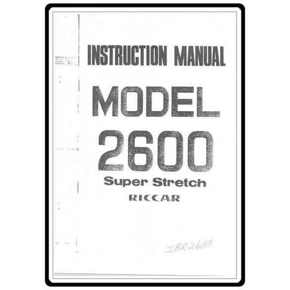 Instruction Manual, Riccar 2600