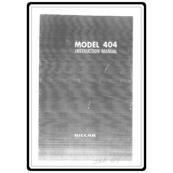 Instruction Manual, Riccar 400 FA