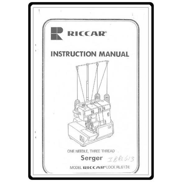Instruction Manual, Riccar RL613