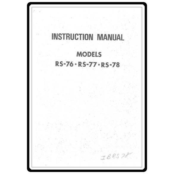 Instruction Manual, Riccar RS78