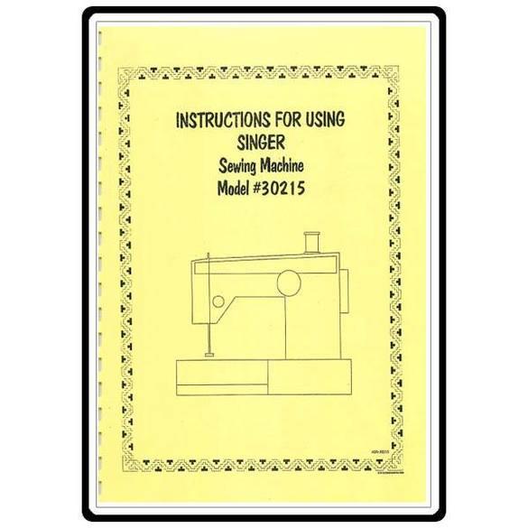 Instruction Manual, Singer 30215