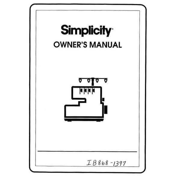 Instruction Manual, Simplicity SL4300
