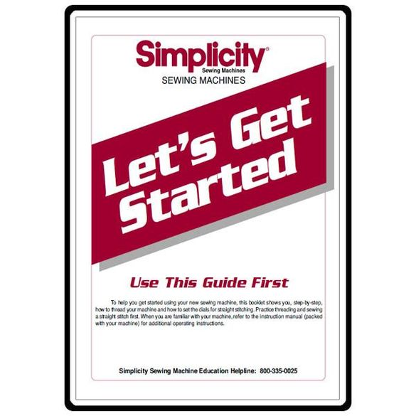 Instruction Manual with Supplement, Simplicity S110