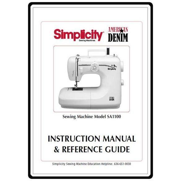 Instruction Manual, Simplicity SA1100