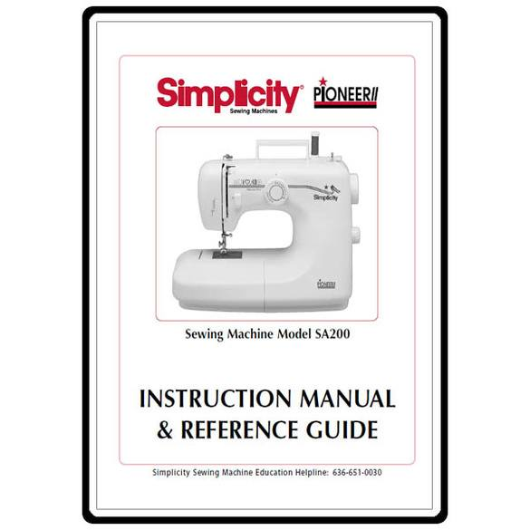 Instruction Manual, Simplicity SA200