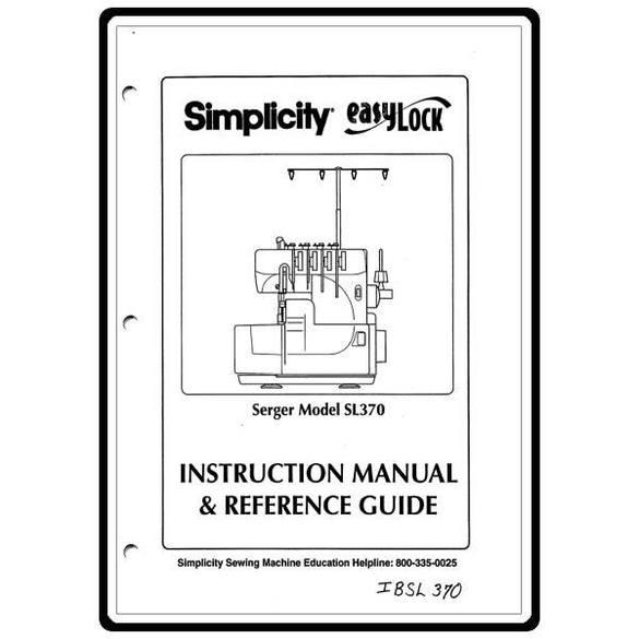 Instruction Manual, Simplicity SL370