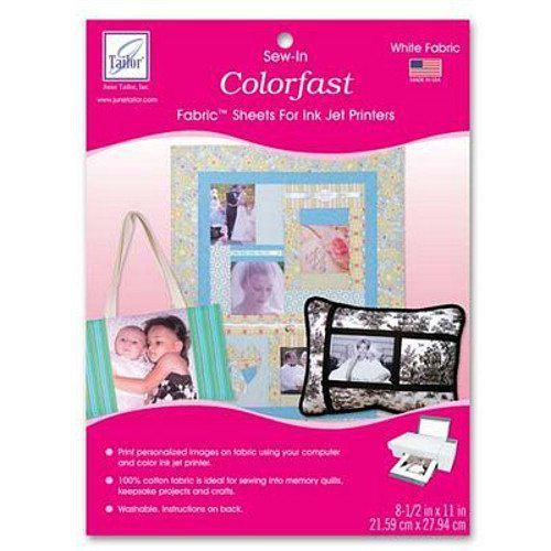 "Colorfast Printable Fabric 8.5""x 11"" 3pk, June Tailor"