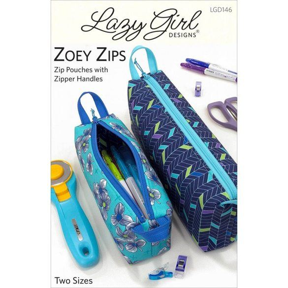 Zoey Zips Pouch Pattern, Lazy Girl Designs