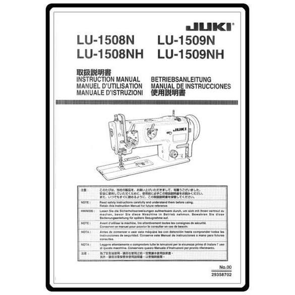Instruction Manual, Juki LU-1508N