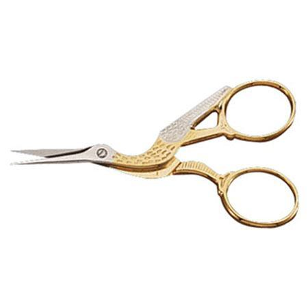 Mundial Gold Stork Embroidery Scissors 3 1/2""