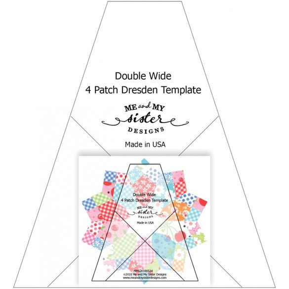 Double Wide Four Patch Dresden Template Ruler with Pattern