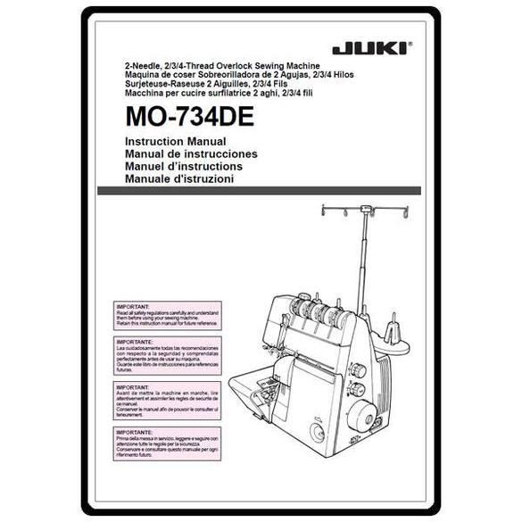 Instruction Manual, Juki MO-734DE