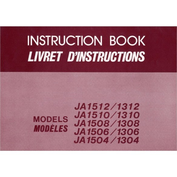 Instruction Manual, Janome (Newhome) JA1508