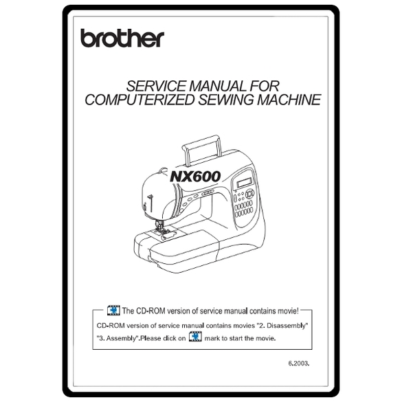 Service Manual, Brother NX600