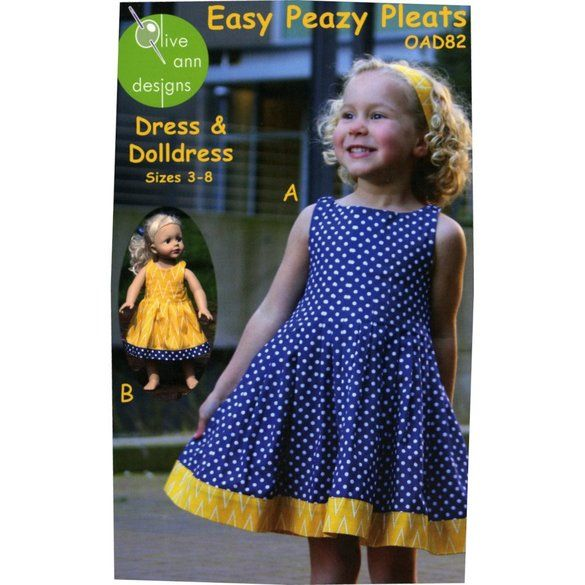 Easy Peazy Pleats Dress Pattern with Matching Doll Dress