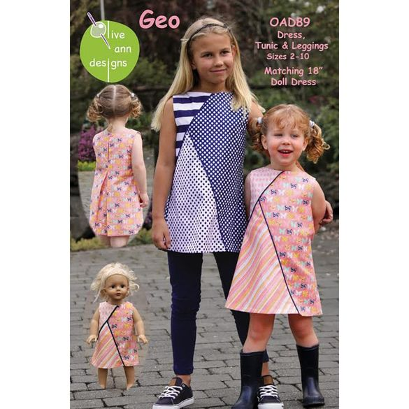 Geo Dress Pattern with Matching Doll Dress
