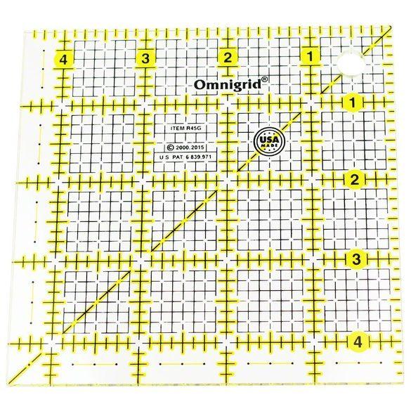 "4.5"" Square Ruler w/ grid, Omnigrid"