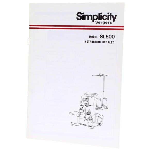 Instruction Manual, Simplicity SL500
