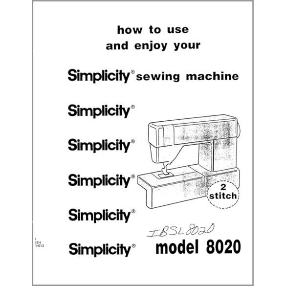 Instruction Manual, Simplicity SL8020