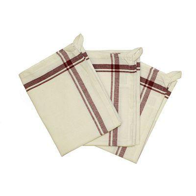 Retro Striped Towels - Set of 3, Maroon