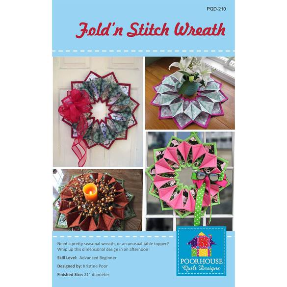 Fold-n-Stitch Wreath Pattern, Poorhouse Quilt Designs