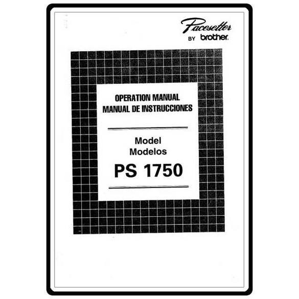 Instruction Manual, Brother Pacesetter PS-1750