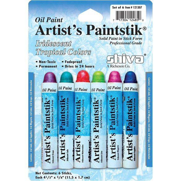 Shiva Artist Paintstick Set, Iridescent Tropical Colors - 6pk