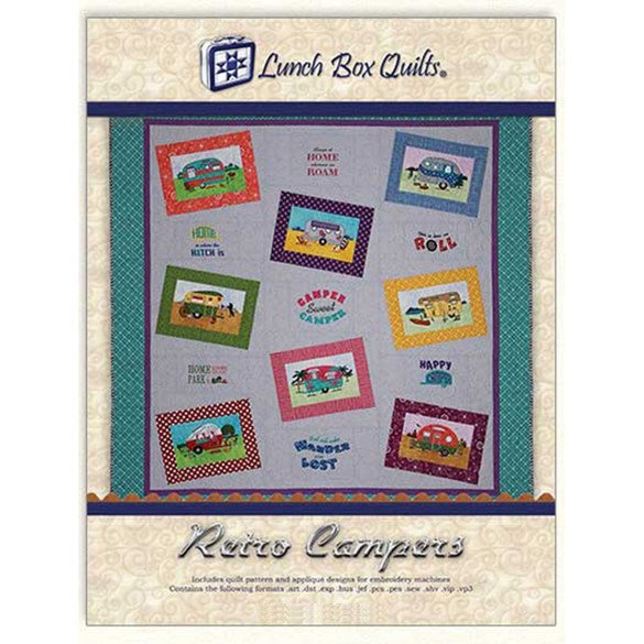 Retro Campers Embroidery Pattern with Redemption Card & CD