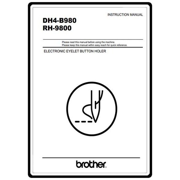Instruction Manual, Brother RH-9800