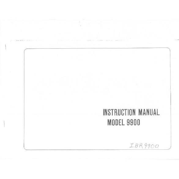 Instruction Manual, Riccar 9900