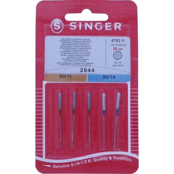 "Singer Embroidery Needle  Assortment (3-11"", 2-14"")"