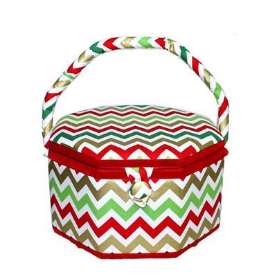 Large Christmas Chevron Sewing Basket, Suzy's Hobby Baskets
