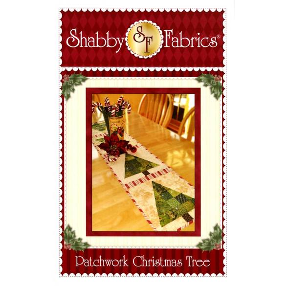 Patchwork Christmas Tree Pattern, Shabby Fabrics