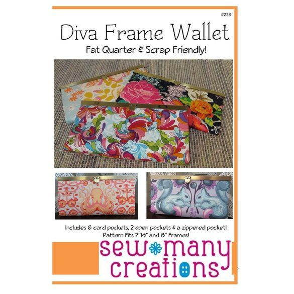 Diva Frame Wallet Pattern, Sew Many Creations